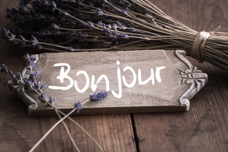 Bienvenue - Welcome a Francia, Se�al, Lavender photo