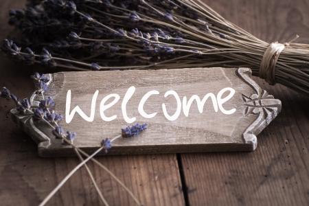 Bienvenue - Willkommen in Frankreich, Schild, Lavendel Lizenzfreie Bilder