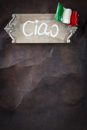 Welcome to Italy - wooden Sign on old Leather Standard-Bild