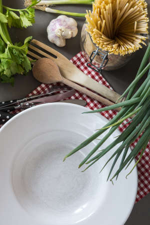 raw Pasta, Plates and Ingredients photo