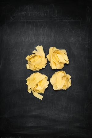 Pappardelle on a Chalkboard with Chalk photo