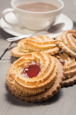 ox eye: German Ox Eye cookies on a laid table Stock Photo