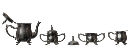 Silver Tea Set isolated on white  photo