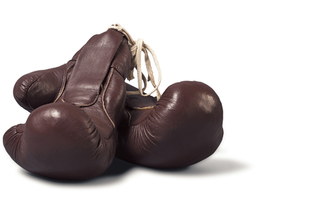vintage boxing Gloves, isolated on white  photo