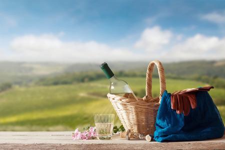 singleness: White Wine for one Person in a mediterranean Landscape