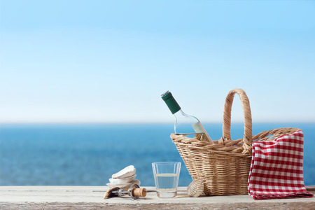 picnic cloth: Rest with Wine at the sea