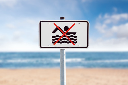 bathing prohibition sign on the Baltic Sea