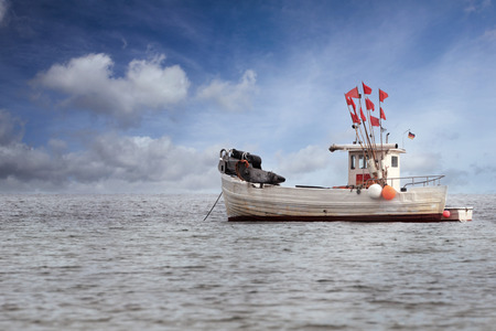 anchoring: Fisherboat anchoring in the Baltic Sea