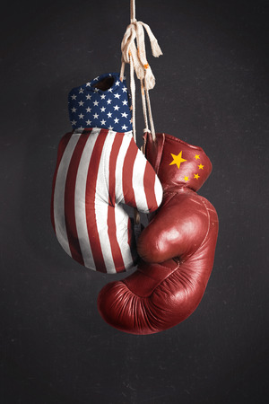 united states flag:  Symbol, the struggle for economic power between the United States and China