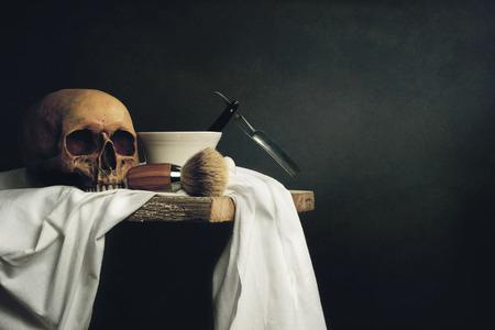Still Life Skull with Shaving Tools
