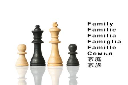 chinese sex: Representation of the family with chess pieces and the word family in different languages