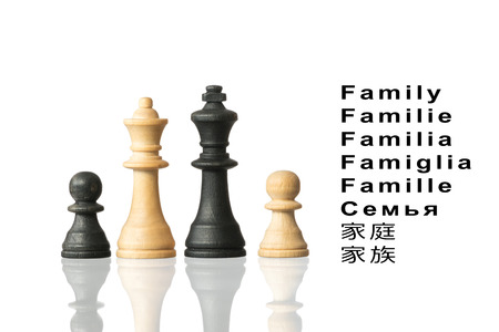 Representation of the family with chess pieces and the word