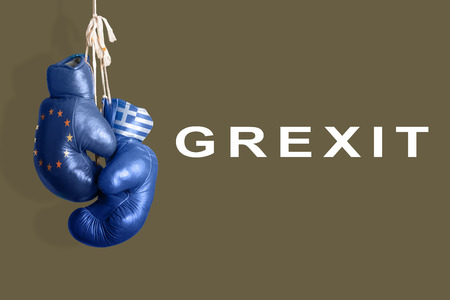 greece: Boxing gloves as a symbol of Greece vs. the EU Stock Photo