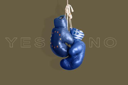 taxpayers: Boxing gloves as a symbol of Greece vs. the EU Stock Photo