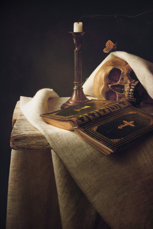 shroud: Vanitas; Bible, Skull, Candle as Symbol for Life, Death and Resurrection