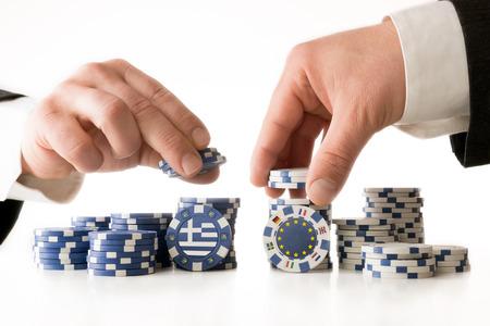 negociacion: Poker para el futuro de Grecia Foto de archivo