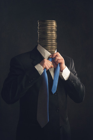 strangle: Symbol Businessman in Suit with stack of coins instead a head