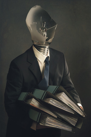 file folders: Symbol of a businessman with File Folders and burn out syndrome