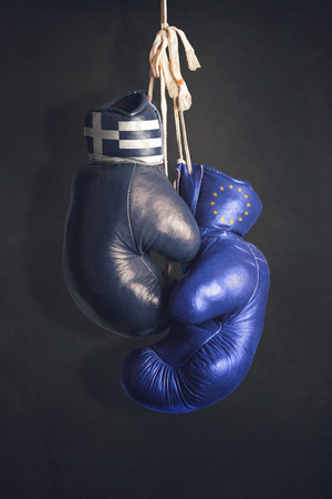 taxpayers: Boxing gloves as a symbol of EU versus Greece