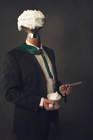 dresscode: a headless Man in Suit with Razor, Brush and Shaving Bowl