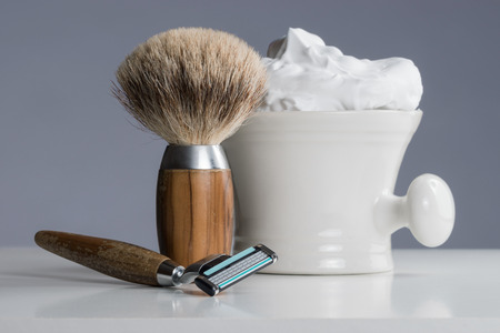 depilate: vintage Shaving Equipment on white Table and bright Background