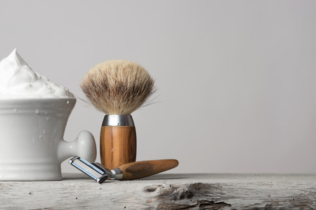 vintage wet Shaving Equipment on white Table