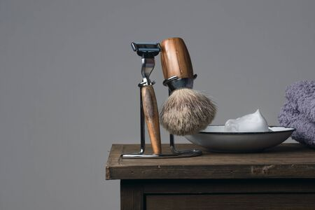 depilate: vintage Shaving Tool on a wooden Table
