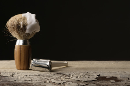 vintage wet shaving Equipment on wooden Table