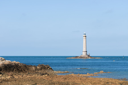 basse normandy: The Lighthouse of Cap de la Hague, France, Normandy 2015 Stock Photo
