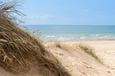 guernsey: the empty Beach of Barneville Carteret, France, Normandy