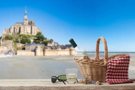 picknick: Picnic in France with Mont Saint Michel in the Background