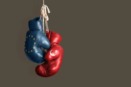ceasefire: Symbol of the Politics between EU and Turkey Stock Photo