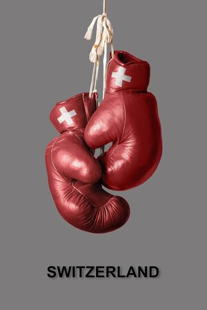 asian art: old Boxing Gloves in the Color of Switzerland