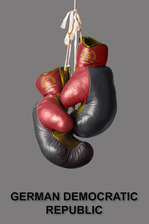 east germany: old Boxing Gloves in the Color of East Germany