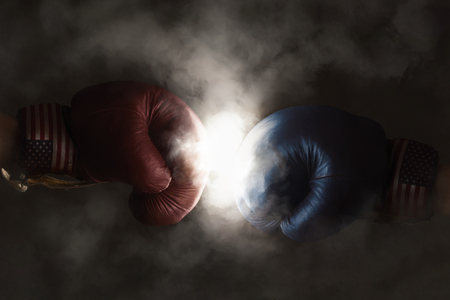politics: Democrats and Republicans in the campaign symbolized with Boxing Gloves