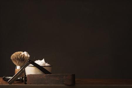 starych prostych Razor z Strop, Mydło Pędzla i Golenia Zdjęcie Seryjne