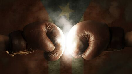 bandera de puerto rico: Los guantes de boxeo con la bandera de Puerto Rico
