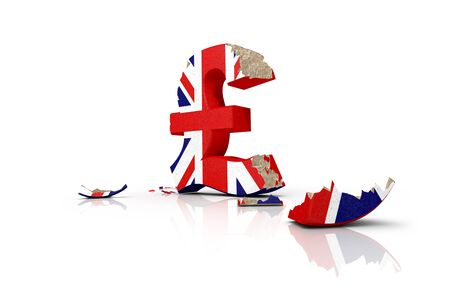 british pound: Symbol of the battered British pound after the Brexit 2016 Stock Photo