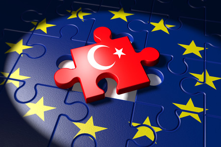 Accession negotiations between Turkey and the EU symbolized as a puzzle