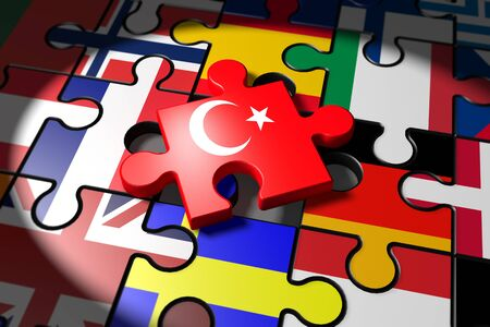accession: 3d illustration Accession negotiations between Turkey and the EU