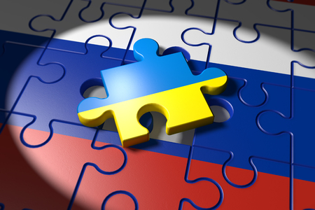detach: 3d illustration Conflict between Ukraine and Russia symbolized with a Puzzle