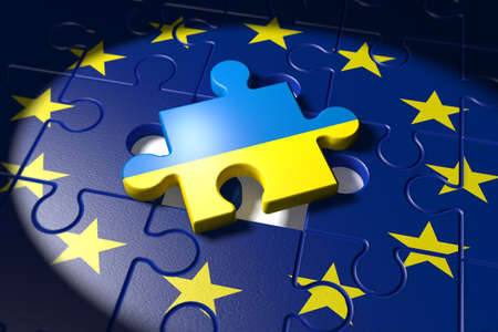 negotiations: 3d illustration Accession negotiations between Ukraine and the EU symbolized as a puzzle