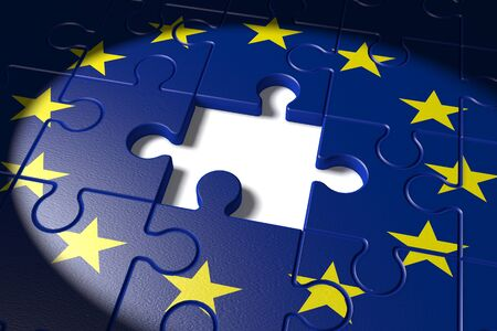 missing piece: 3d illustration Brexit, the missing piece in a puzzle EU