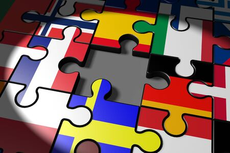 proposed: 3d illustration Brexit, the missing piece in a puzzle EU