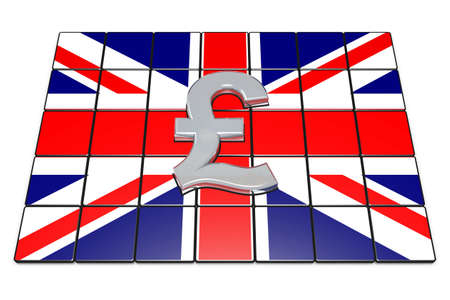 british pound: 3d illustration British Pound Sterling on Englands Flag