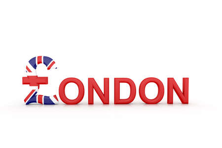 lb: 3d illustration Text London with currency symbol Stock Photo