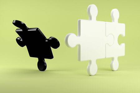 leaving: 3d illustration, Puzzle pieces symbolize the divorce between two people