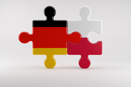 relations: 3d illustration, Symbol of good relations between Germany and Poland