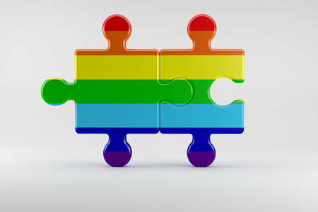 3d illustration; Puzzle as Symbol for the Rights of Gay People