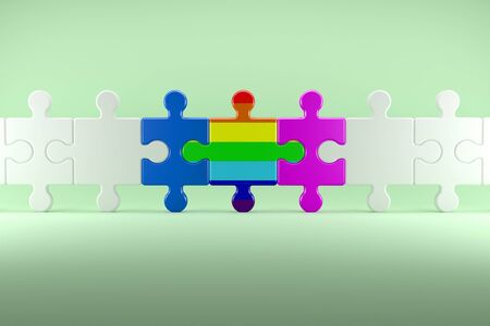 homosexual wedding: 3d illustration; Pieces of Puzzle as Symbol for the Diversity